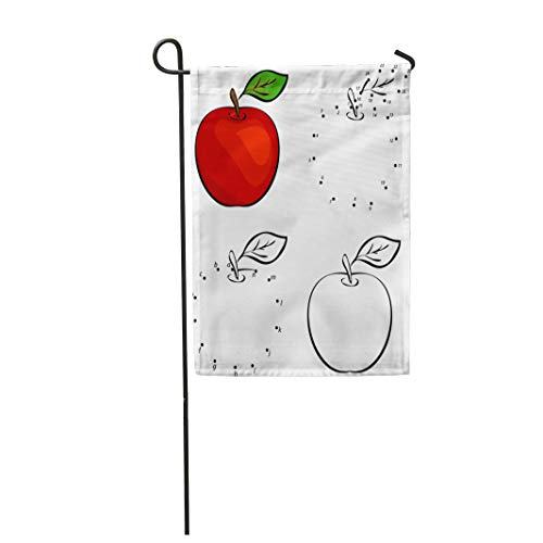 (Semtomn Garden Flag 28x40 Inches Print On Two Side Polyester Fruit Cartoon Red Apple Coloring and Dot to Educational Game Connect Food Child Home Yard Farm Fade Resistant Outdoor House)