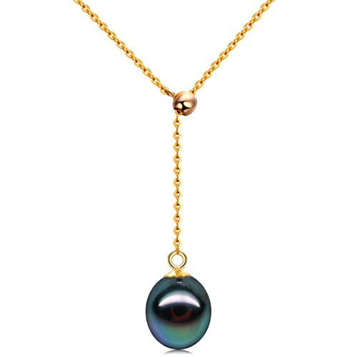 Fashion Jewelry@ 18K Gold Tahitian South Sea Cultured Black Pearl Pendant 9-10mm Drop Shape Woman Adjustable Saltwater Pearl Necklace