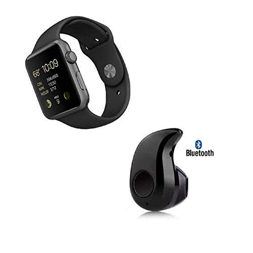 A1 Bluetooth 3.0 Smart Watch SIM/Memory Card Slot & Camera with Mini Kaju Wireless Earbud Bluetooth Earphones Headset with Mic for Android Mobile