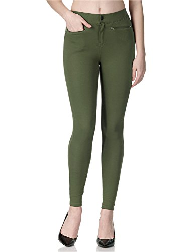 REGNA X Boho For Womens Full Length Skinny Warm Olive Vintage Small Cotton Legging Jegging Jean Pants