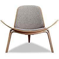 Kardiel Tripod Plywood Modern Lounge Chair, Urban Pebble Twill/Oak