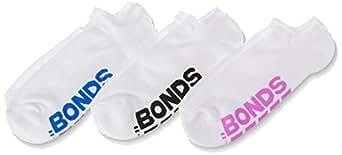 Bonds Women's Cotton Blend Logo No Show Socks (3 Pack), Pack 10, 8-11