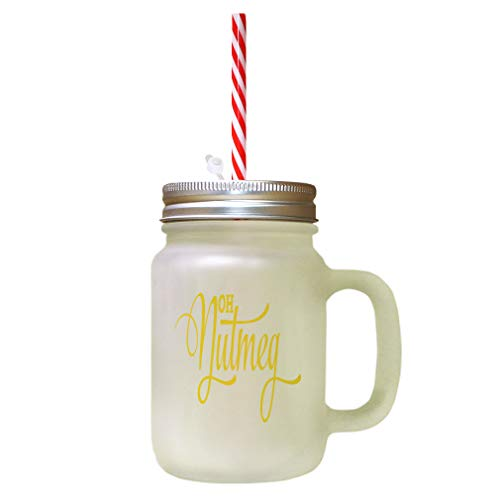 Yellow Oh Nutmeg Frosted Glass Mason Jar With Straw