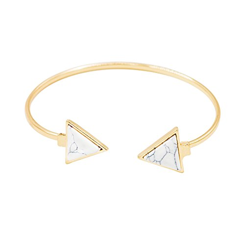 Geerier Teenagers Golden Metal Chain Marble Stone Bangle Bracelet White Triangle (Necklace Metal Bracelet)