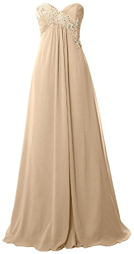 MACloth Women Strapless Empire Long Prom Dress Chiffon Formal Party Evening Gown Champagne