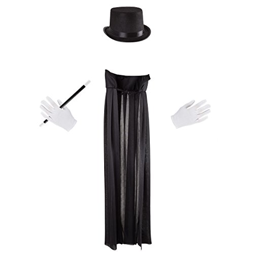 Hey! Play! Kids Magician Costume Set-Dress Up Outfit with Cape, Top Hat, Gloves, Wand- Fun Pretend Play Magic Show Accessories for Boys and Girls]()