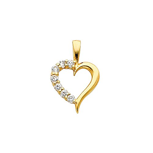 14K Yellow Gold Journey Hollow Heart Cubic Zirconia CZ Charm Pendant For Necklace or Chain