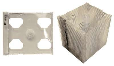 Square Deal Online - CD2S80SMCL - CD Smart Trays - 2 Disc Hinged - Clear (25-Pack)