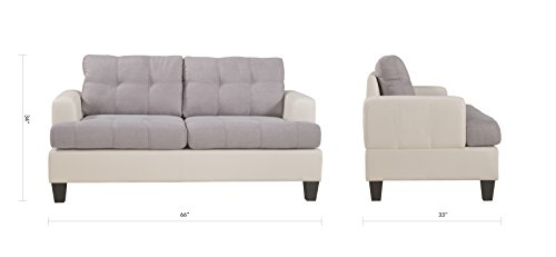 Classic 2 Tone Linen Fabric and Bonded Leather Sofa and Loveseat Living Room Set (White/Grey)