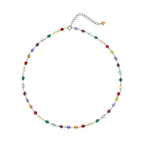 Sterling Silver Linked Multi Color Choker Necklace Made with Swarovski Crystals, 14