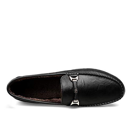 para cómodos Zapatos Penny Hombre Informal Hombres Mocasines de en Black Warm Zapatos Zapatos de Barco los holgazán pSnTq
