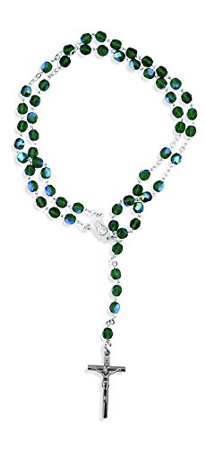 Catholic Green Rosary with Crystal Glass Beads Made in Italy (First Communion Crystal)