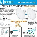 Ubiquiti NBE-5AC-16 PRECONFIGURED NanoBeam 5 ac Bridge 5GHz airMAX 16dBi (2PACK) by Ubiquiti Networks