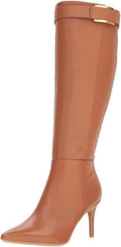 Calvin Klein Women's GLYDIA Knee High Boot, Cognac Leather Wide Calf, 8 M US