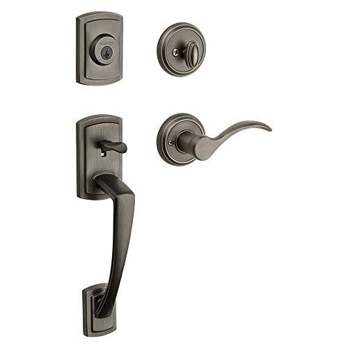 Baldwin Nautica Single Cylinder Front Door Handleset Featuring SmartKey Security in Slate, Prestige Series with Traditional Door Hardware and Tobin Lever ()