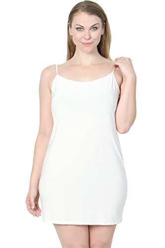 Ivy Chip (TheMogan Junior's Sleeveless Strappy Stretch Layering Mini Full Slip Ivory 1XL)