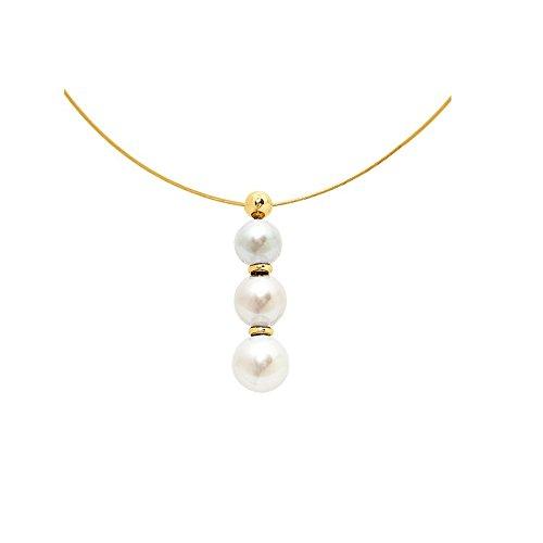 Collier Cable en Or Jaune 750/1000 et 3 Perles de Culture Blanches -Blue Pearls-BPS K002 W BLANC