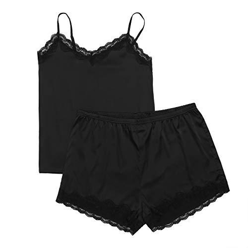 (IN'VOLAND Women's Plus Size Lace Pajama Set Satin Sleepwear Shorts Nightwear Pjs Sets Black)