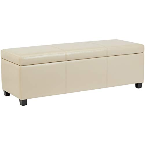 First Hill Damara Lift-Top Storage Ottoman Bench with Faux-Leather Upholstery, Large, Boutique Beige ()