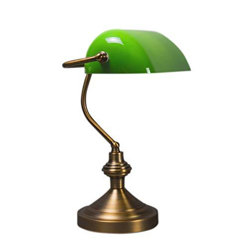 QAZQA Klassisch//Antik//Retro Schreibtischleuchte//Tischleuchte//B/üroleuchte//Tischlampe//Lampe//Leuchte NOTAR Bronze mit gr/ünem Glas//Innenbeleuchtung//Wohnzimmerlampe//Bankerleuchte//Stahl