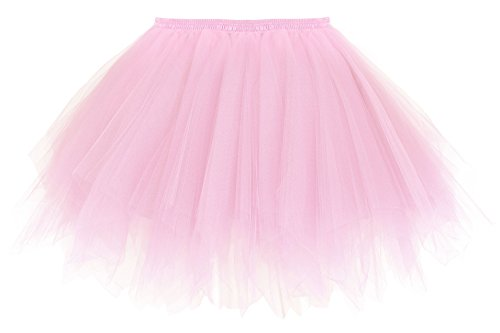 Pink Tulle Layered Tutu (Simplicity Women's Classic Vintage Petticoat Layered Tulle Tutu Skirt, Pink)