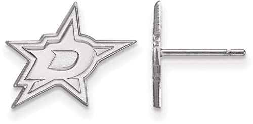 Logoart Dallas Stars Earring - 10K White Gold NHL Dallas Stars Small Post Earrings by LogoArt