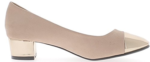 ChaussMoi Material Bi Bombas Ronda Termina con Tacones Pequeños 3,5 cm Rosa