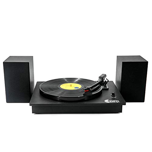 Bluetooth Vinyl Record Player with Powerful External Speakers, Nostalgic Turntable for 33⅓/45 RPM Record with Adjustable Counter Weight,Wireless Connection