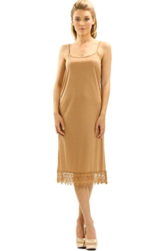 Melody [Shop Lev] Womens Long Solid Knit Lace Full Slip Dress Extender With Adjustable Straps