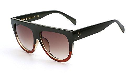 Green Brown Frame Womens Retro Oversized Designer Flat Lens Sunglasses Fashion Eye Glasses - Female Brown Green