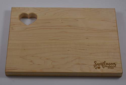 (Sunflowees SB2110MH Premium Hardwood Maple Cutting Board with Heart for Rustic Farmhouse Flair 9