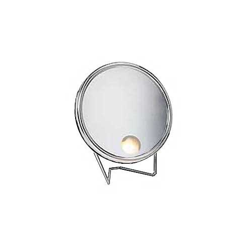 Arpin Soleil Illumin One Side Travel Mirror (7'' face 9x Mag. Gold) by Arpin