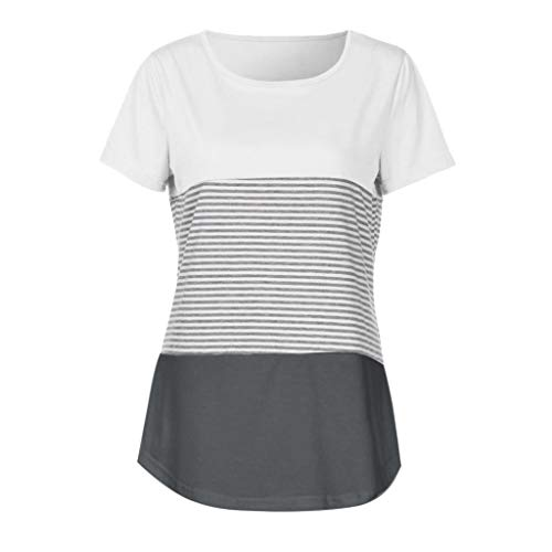 HHmei Women Short Sleeve Triple Color Block Stripe T-Shirt Casual Blouse Color Knotted Baggy Vertical Own Apparel Your Cloths Ruffles Make Fall Dresses Mesh Fashion (Gray S)