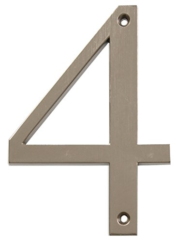 Distinctions by Hillman 843324 4-Inch Brushed Nickel Flush-Mount House Number ()