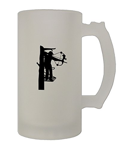 Hunter Beer Glass - Bow Hunter Silhouette Hunting 16 Oz Frosted Glass Stein Beer Mug