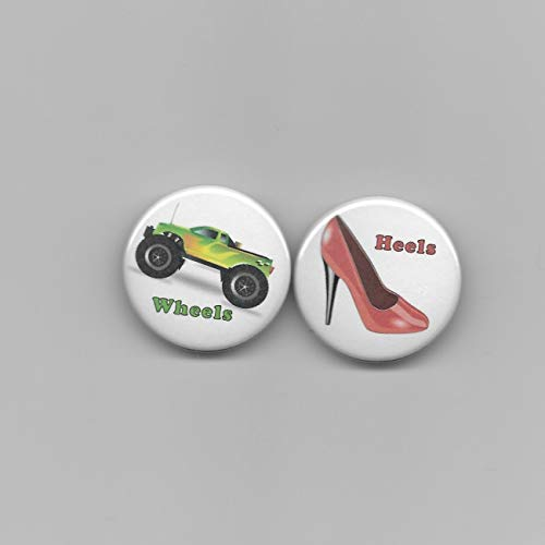 20 Count Heels & Wheels Gender Reveal Baby Shower Party Favors Pin Back Buttons 1 1/2