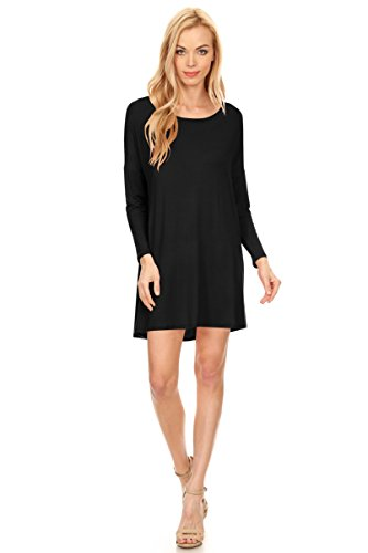Black Tunic A-line Casual Short Dress, Long Sleeves, Round Neck, Made In USA, Black, Large