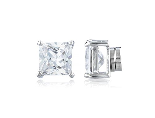 Buyless Fashion Comfortable Magnetic White Square Crystal CZ Earring - 7X7 MM White/White Stud - 7mm White Crystal Pearl Earrings