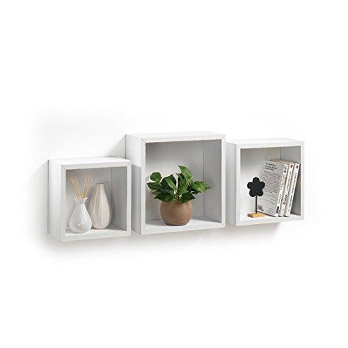 Modul'Home 6RAN789BC - Mensole a cubo, in MDF, 11,8 x 30 x 30 cm, pannello MDF, bianco, 3 taglie 23 cm/26,5 cm/30 cm