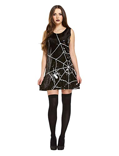 MA ONLINE Ladies Halloween Sequin Spider Web Outfit Womens Fancy Dress Party Wear Costume US 6-8 -