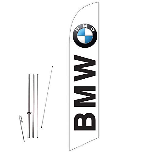 Cobb Promo Feather Flag (White) for BMW Auto Dealership with Complete 15ft Pole kit and Ground Spike