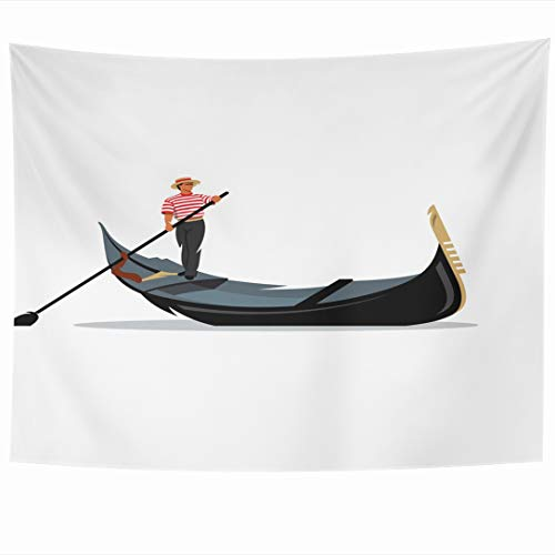 Ahawoso Tapestry 90x60 Inch Logotype Italy Venice Gondola Gondolier Rowing City Oar Italian Boat White Travel Love River Tapestries Wall Hanging Home Decor for Living Room Bedroom Dorm