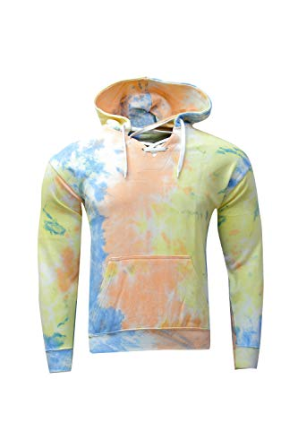 Kara Hub Long Sleeve Pullover Pastel V Neck Tubular Drawcord Tie Dye Hoodie Sweatshirt (Medium, Blue Apricot)