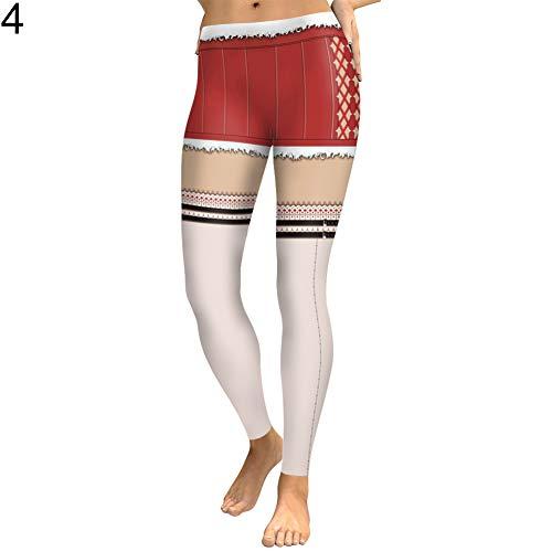 Bath Legs Birthday (angel3292 Christmas Women Leggings Mock Shorts Long Socks Stretchy Skinny Pencil Pants S 4)