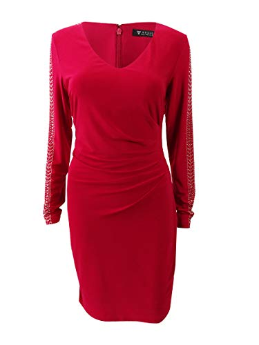 GUESS Womens Studded Ruched Cocktail Dress Red 12