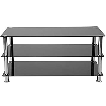 Flash Furniture Riverside Collection Black Glass TV Stand with Stainless Steel Frame