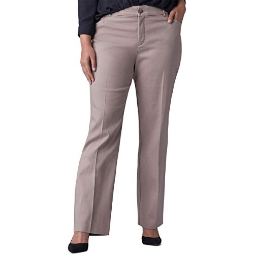 Lee Platinum Label Womens Plus Madelyn Regular Fit Straight Leg Pants Brown 14WP ()