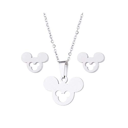 (Mall of Style Mickey Mouse Jewelry Set - Necklace and Earrings for Teenage Girls (Silver Cutout))