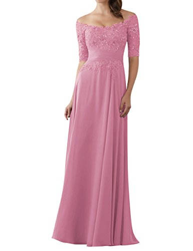 Evening Dresses Mother of The Bride Gowns with Sleeves Lace Long Chiffon Beaded Dusty Rose - Chiffon Wedding Dress Informal