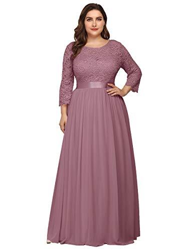 Ever-Pretty Dames Elegant A-lijn Grote maat Avondjurken met 3/4 Mouwen 07412